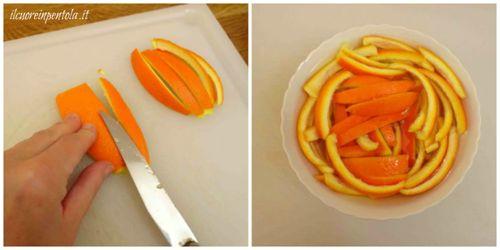 mettere le bucce di arancia in acqua
