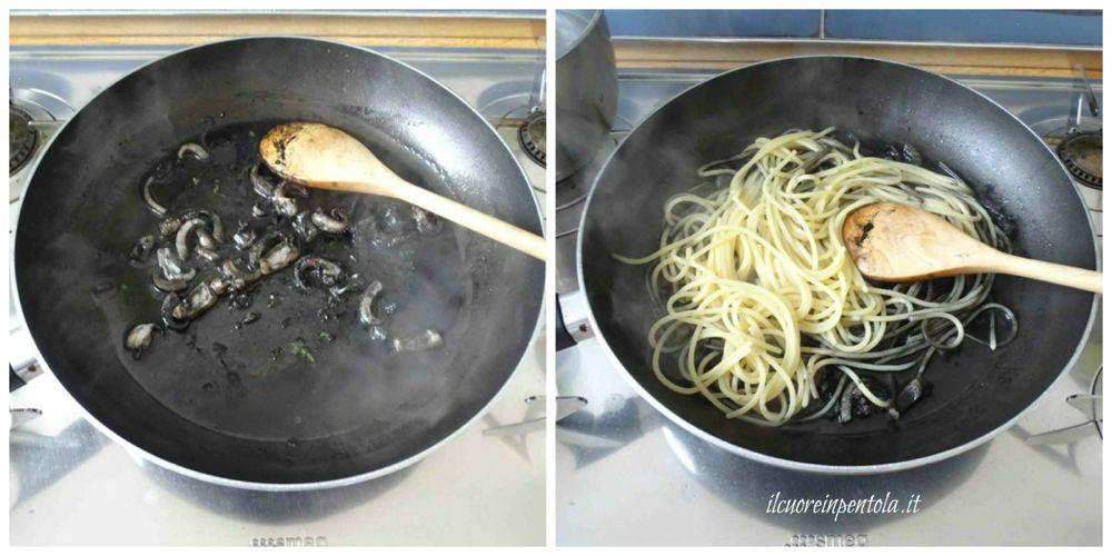 mantecare pasta con nero di seppia