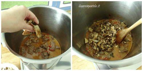 aggiungere funghi porcini e continuare cottura