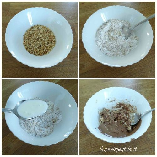 mescolare granella nocciole zucchero a velo e cioccolato fuso
