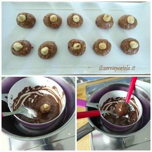 rotolare baci perugina nel cioccolato fondente sciolto