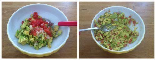 schiacciare guacamole con la forchetta