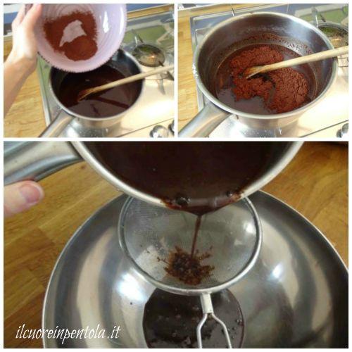 aggiungere cacao amaro e filtrare