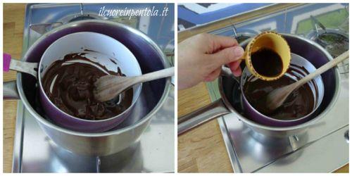 sciogliere cioccolato e aggiungere caffé