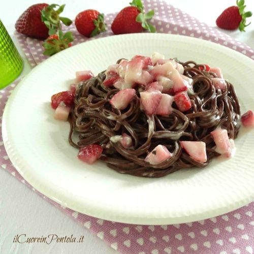 tagliolini al cacao con mascarpone e fragole ricetta