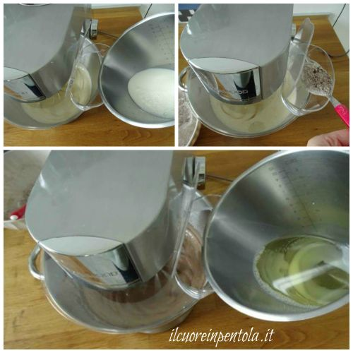aggiungere latte olio e farina