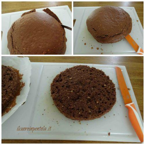 pulire e tagliare pan di spagna