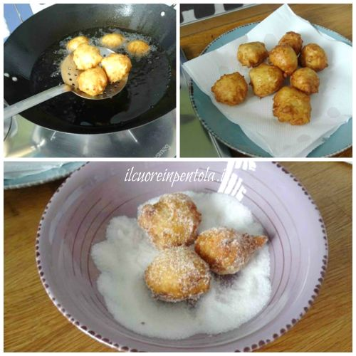 rotolare frittelle di riso nello zucchero