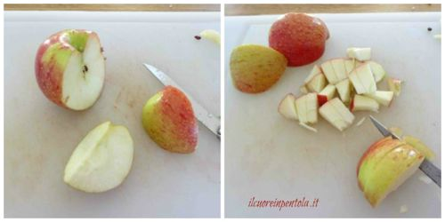 pulire e tagliare mela