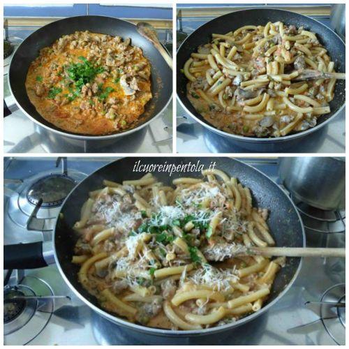 mantecare pasta alla boscaiola