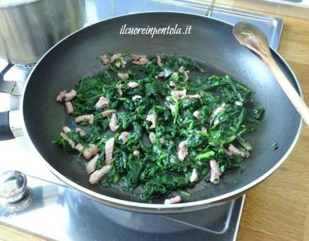 spinaci con pancetta