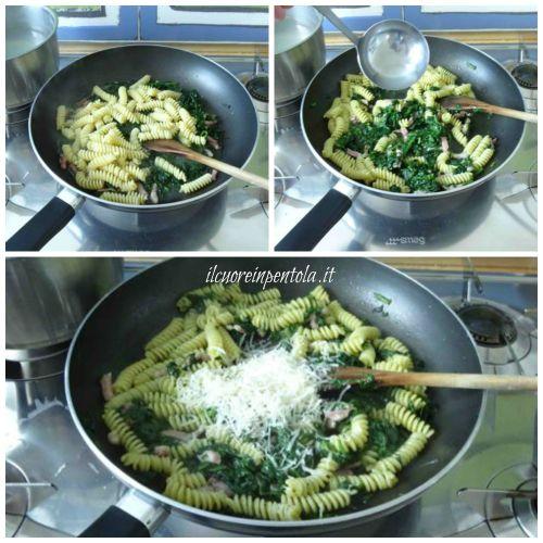 mantecare pasta con spinaci e pancetta