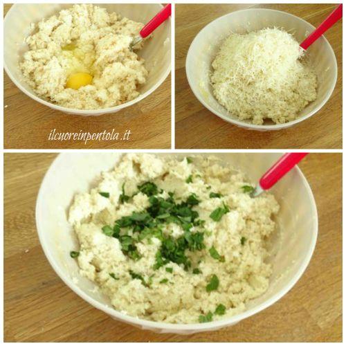 aggiungere uova e formaggio