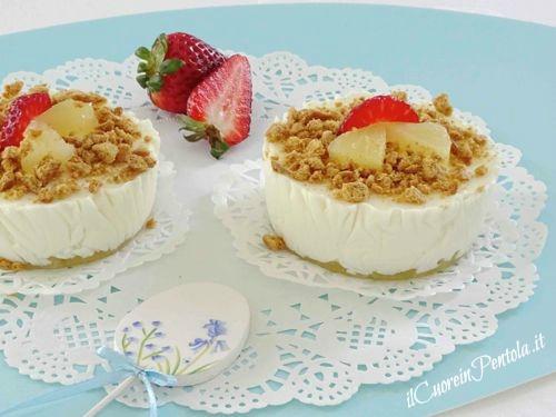 cheesecake mono porzione all'ananas