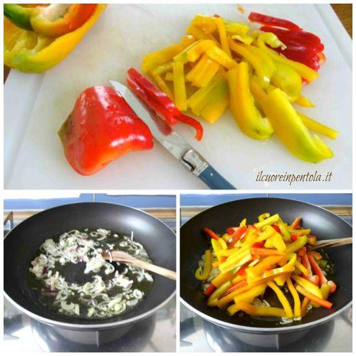 soffriggere cipolla e peperoni