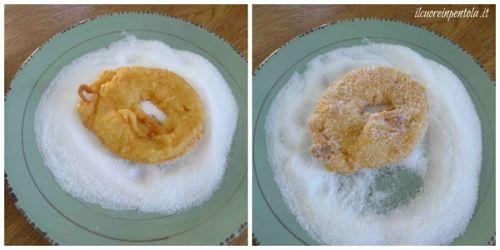passare frittelle nello zucchero