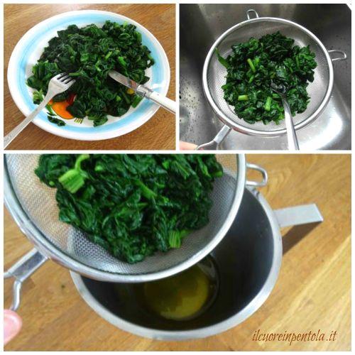 tagliare e strizzare spinaci