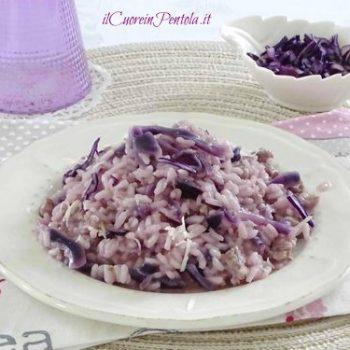 risotto con salsiccia e cavolo rosso