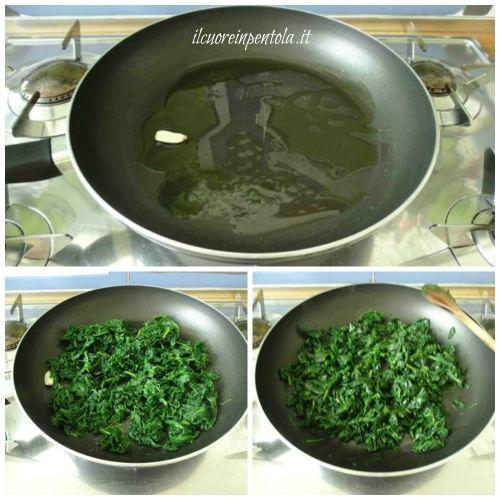 rosolare spinaci nel soffritto