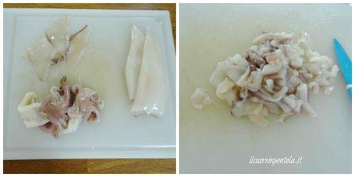 pulire calamari e tagliare tentacoli