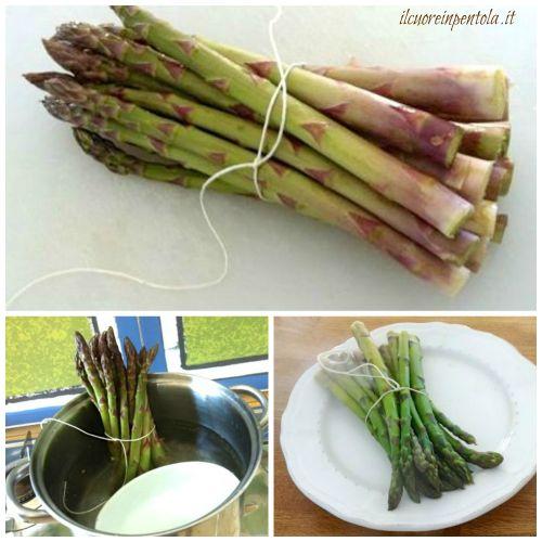 cucinare asparagi grossi in piedi