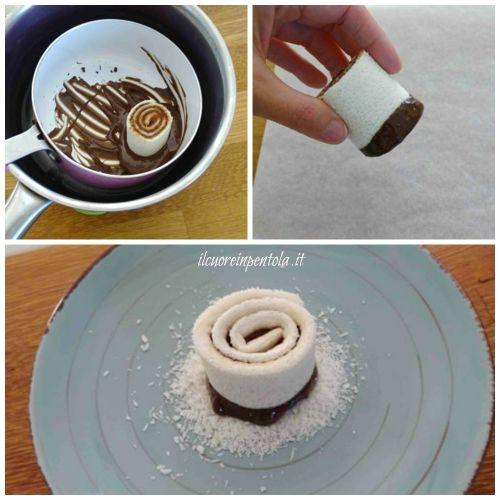 intingere girelle nel cioccolato
