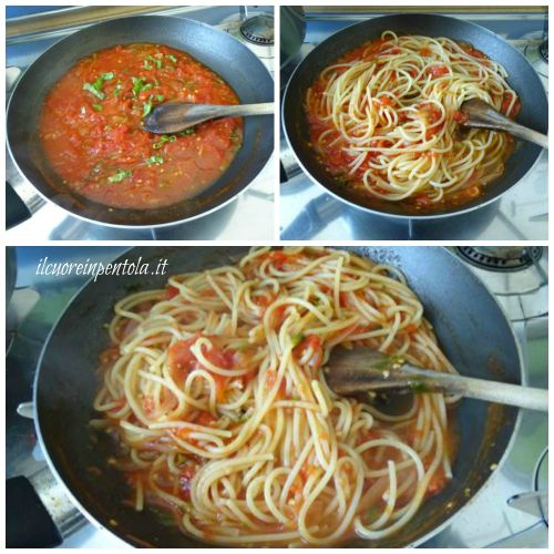 saltare pastra in padella con il sugo di pomodoro