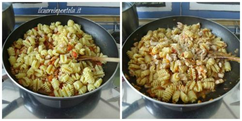 mantecare pasta con ragu di pollo