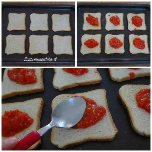 ricoprire pancarré con sugo di pomodoro
