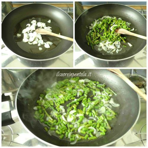 soffriggere cipolla e rosolare asparagi