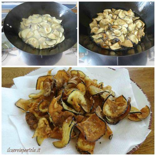 friggere chips di melanzane