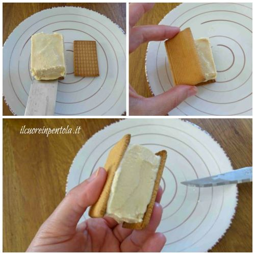 mettere il gelato tra due biscotti