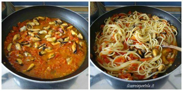 mantecare spaghetti con il sugo di cozze