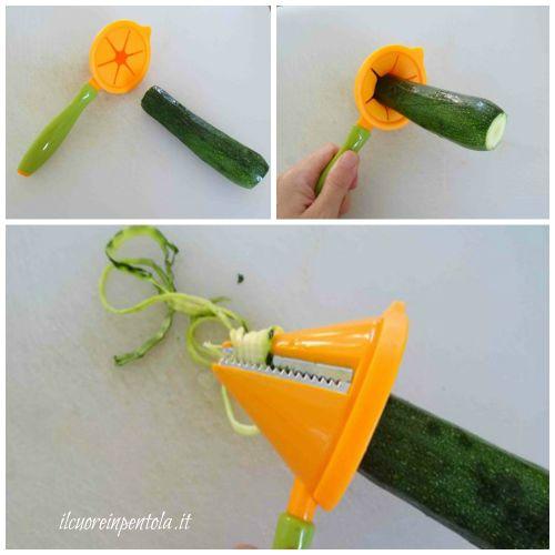 inserire zucchina nel cono e girare