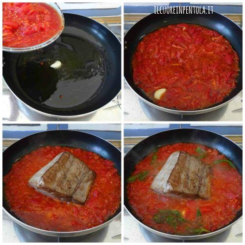 preparare sugo e aggiungere tonno