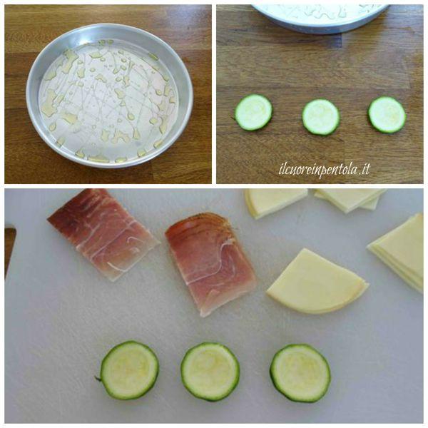 tagliare zucchine speck e scamorza