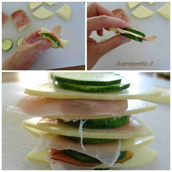 alternare zucchine speck e scamorza