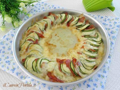 zucchine al forno con speck e formaggio
