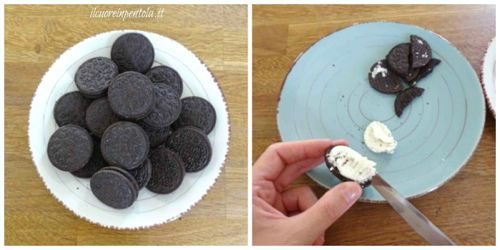 togliere cremina dai biscotti oreo