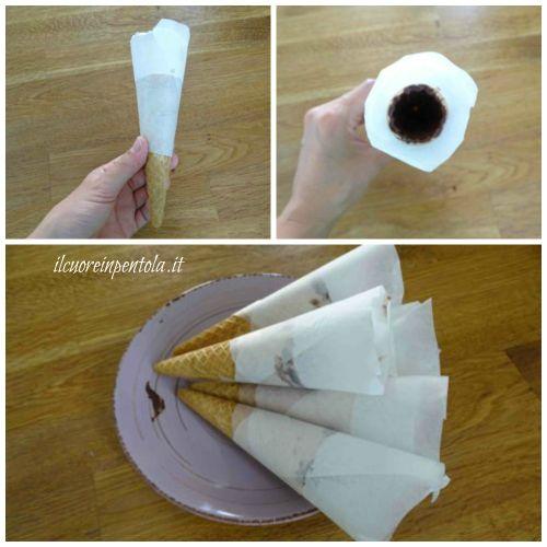 avvolgere coni con carta forno