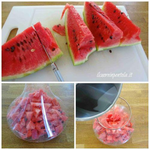 pulire e tagliare anguria