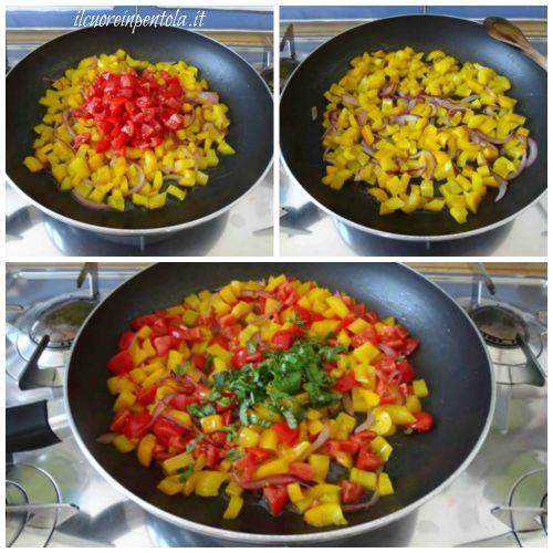 aggiungere pomodori e basilico