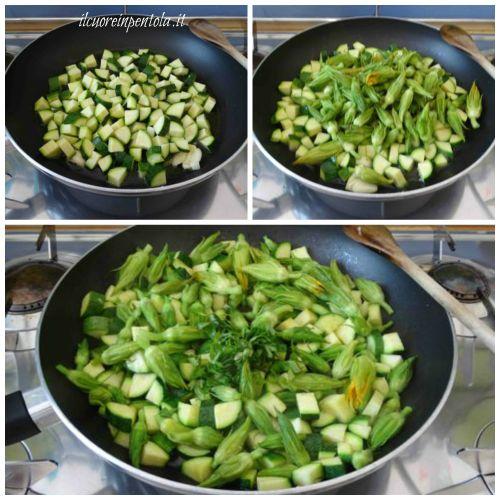saltare in padella zucchine e fiori di zucca