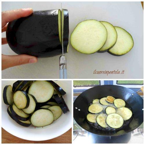 tagliare e friggere melanzane