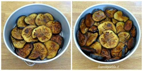 rivestire teglia con melanzane fritte