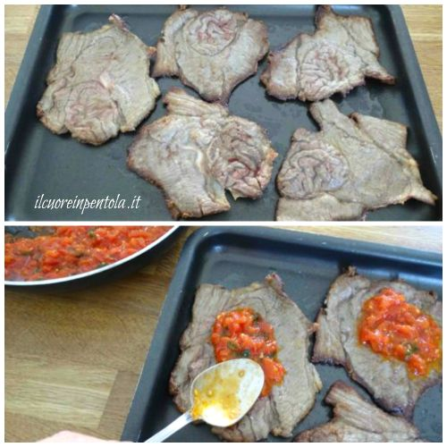 mettere la carne su una teglia