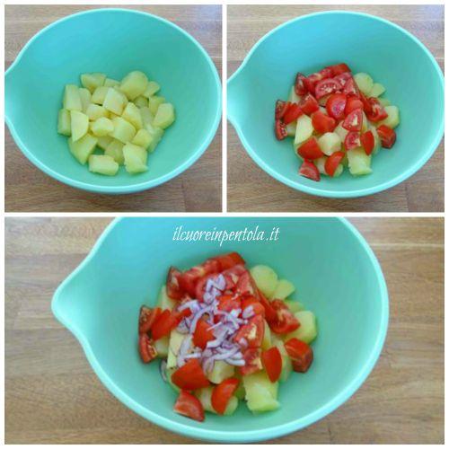 aggiungere pomodori e cipolla