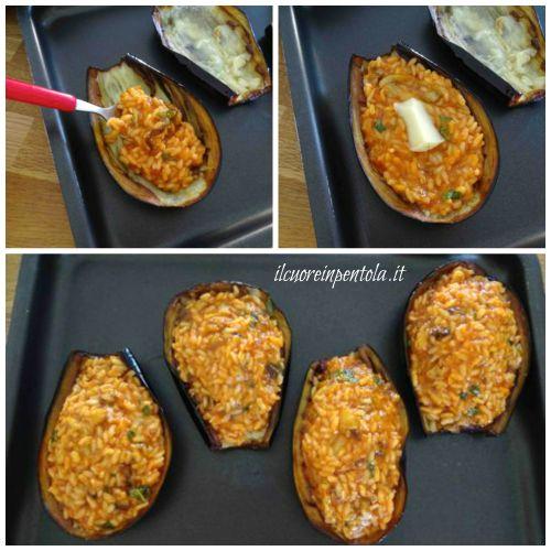riempire melanzane con il riso