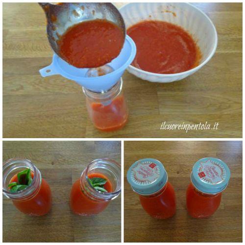 imbottigliare passata di pomodoro