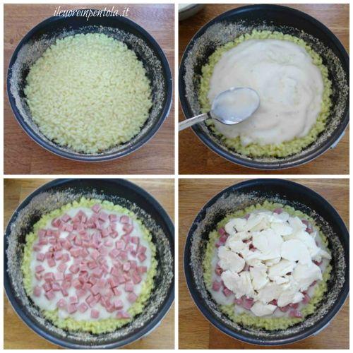versare riso nella teglia e farcire